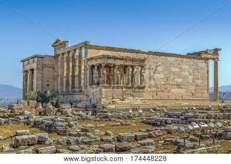 The Erechtheion is an ancient Greek temple on the north side of the Acropolis of Athens in Greece which was dedicated to both Athena and Poseidon.