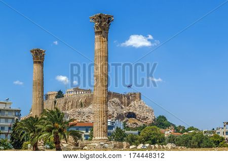 View of the Athenian Acropolis from the temple of Olympian Zeus Greece