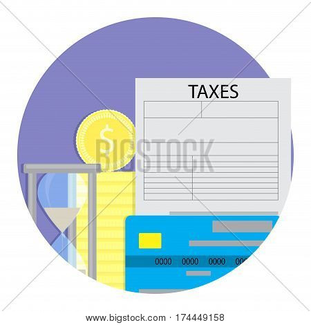 Tax payment time. Taxation from credit card. Vector illustration
