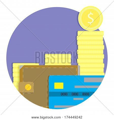 Annual profit vector icon. Banking finance wallet and cash illustration