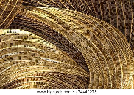 Rattan handicraft of art decorate pattern design background brown of nature color.