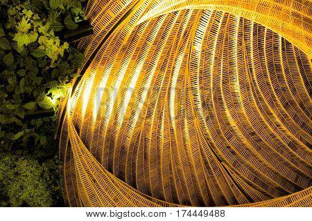 Rattan handicraft with leave concept flora background decorate design.