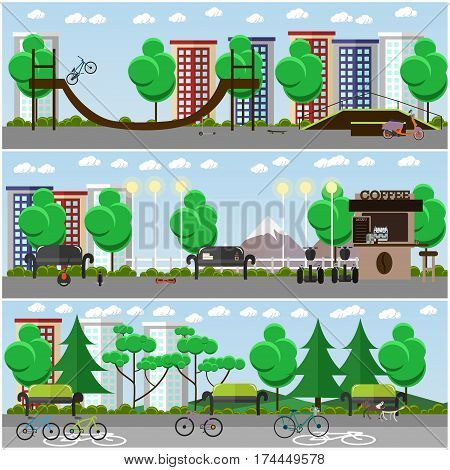 Vector set of posters, banners with skate park and ramp, bike path in the park, modern street transport flat style design elements.