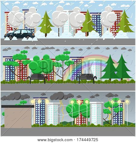 Vector set of weather concept posters, banners. Blizzard, rain and storm, cityscape, city park and street flat style design elements.