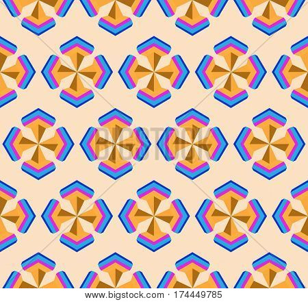 Seamless geometric symmetry 3d abstract pattern. Creative geometric ornament on color background. For design wallpaper cover invitation fabric. Vector background.