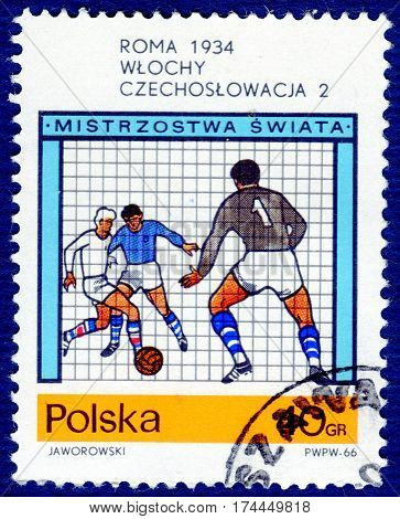 POLAND - CIRCA 1970: Postage stamp printed in Poland with a picture of a football players, with the inscription