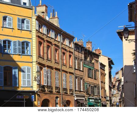Facades in a street of Toulouse France