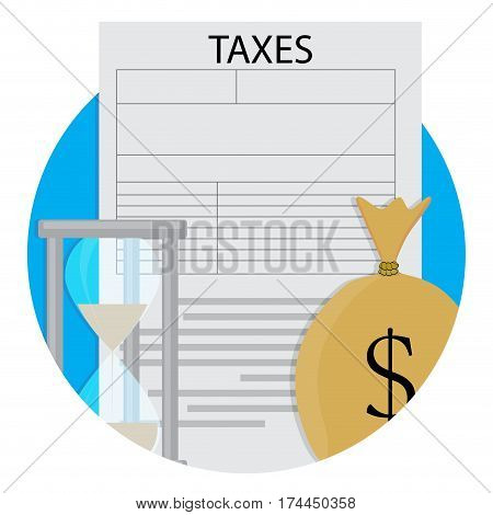 Pay taxes vector icon. Hourglass and income taxation illustration