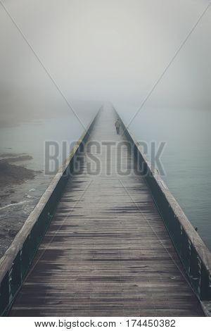 Fog on the jetty bridge of la Chaume (Les Sables d'Olonne, France)