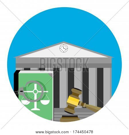 Legal punishment icon vector. Verdict guilt judgement and tribunal illustration