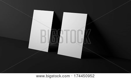 Two white blank business cards. High resolution 3d render. Personal branding mockup template. Soft shadow.