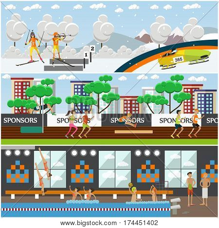 Vector set of sports concept posters, banners. Light athletics, water and winter sports. People doing sports, taking part in competitions design elements in flat style.