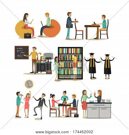 Vector set of university people icons in flat style, Students and teachers in classroom, cafe, library, laboratory, disco party design elements in flat style.