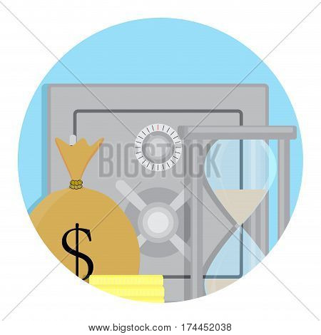 Safety deposit box storage of money and capital icon. Vector illustration