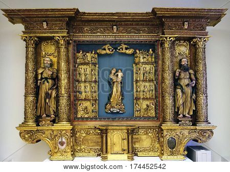 ZAGREB, CROATIA - JUNE 18, 2015: St Peter, Virgin Mary with child Jesus and St Paul, from the church of the Queen of Holy Rosary in Rrmetinec exhibited in the Museum of Arts and Crafts in Zagreb
