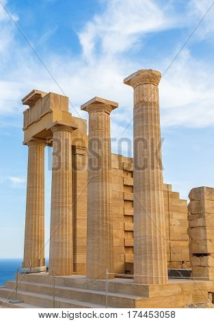 Ruins of ancient temple. Lindos. Rhodes island Greece