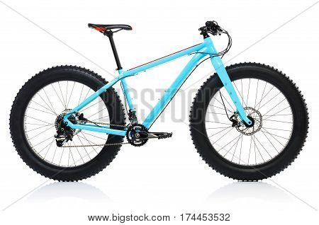 New blue bicycle isolated on a white background