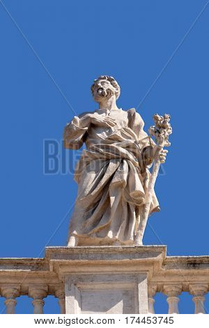 ROME, ITALY - SEPTEMBER 02: St. Joseph, fragment of colonnade of St. Peters Basilica. Papal Basilica of St. Peter in Vatican, Rome, Italy on September 02, 2016.