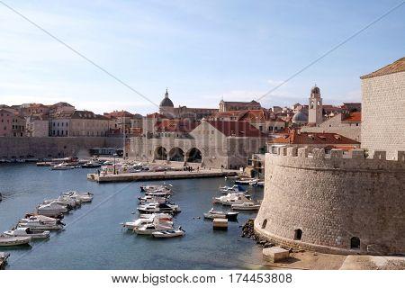 DUBROVNIK, CROATIA - NOVEMBER 30: The port of the Old Town of Dubrovnik, Croatia on November 30, 2015.