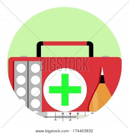 Treatment of fever with flu icon. Drug and treatment enema and antipyretic vector illustration