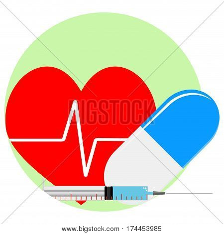 Heart reanimation icon. Injection and pill for healthy heart. Vector illustration
