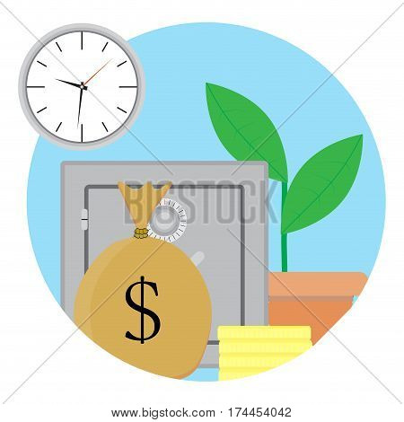 Capitalization and growth capital. Business trust financial capitalization vector illustration