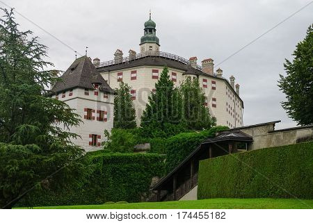 Ambras Castle (Schloss Ambras) a Renaissance sixteenth century castle and palace located in the hills above Innsbruck Austria.