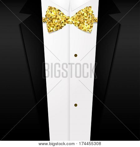 Golden bow tie Vector illustration Shiny golden bow tie on background of a tuxedo Realistic style