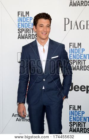LOS ANGELES - FEB 25:  Miles Teller at the 32nd Annual Film Independent Spirit Awards at Beach on February 25, 2017 in Santa Monica, CA