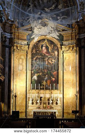 ROME, ITALY - SEPTEMBER 02: Altar of Chiesa di San Luigi dei Francesi - Church of St Louis of the French, Rome, Italy on September 02, 2016.