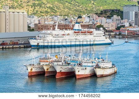 Port Louis Mauritius - December 12 2015: MV Logo s Hope ship berthed at Port Louis Mauritius. Fishing Vessels in the foreground.