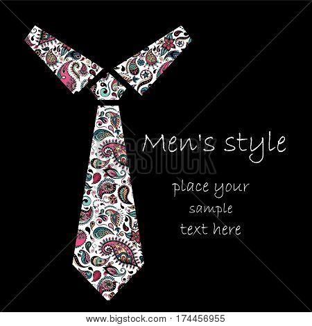 Patterned Cravat. Batik, Doodle, Zentangle Design. It May Be Used Ford Shirt, Bag, Postcard And Post