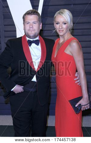 LOS ANGELES - FEB 26:  James Corden, Julia Carey at the 2017 Vanity Fair Oscar Party  at the Wallis Annenberg Center on February 26, 2017 in Beverly Hills, CA