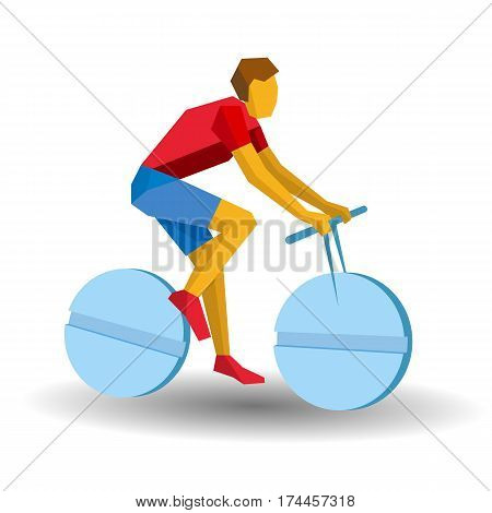 Cyclist Riding A Tablet Wheels. Medicine In Sport, Doping.