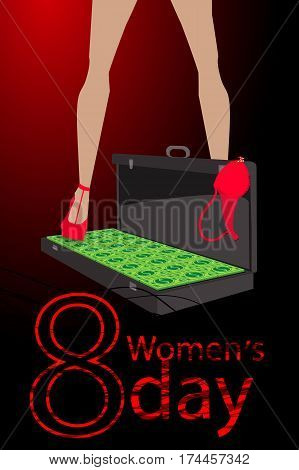 Women S Day. Feet In The Case With Money Dollars