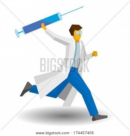 Doctor Running With A Large Syringe. Medicine Concept.