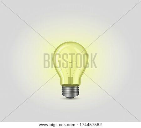 Realistic yellow incandescent light bulb lamp, vector