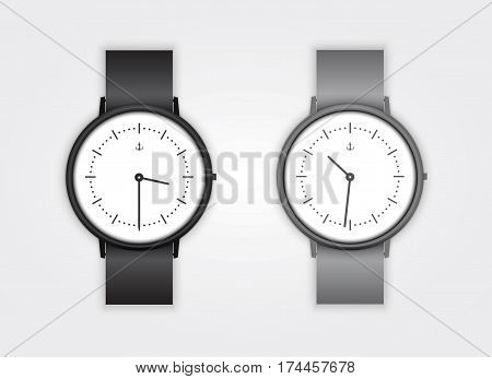 Classic Analog Men's Wrist Watch detailed vector