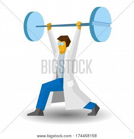 Doctor Raises A Bar With Tablets. Medicine Concept. Vector Image Clip Art.