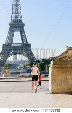 Woman Run At Tour Eiffel