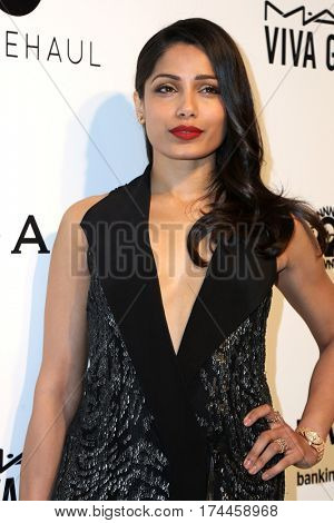 LOS ANGELES - FEB 26:  Freida Pinto at the 25the Annual Elton John Academy Awards Viewing Party at the  City of West Hollywood Park on February 26, 2017 in West Hollywood, CA