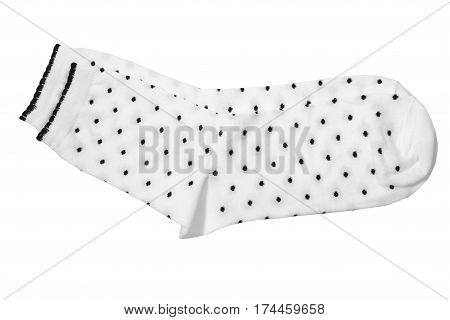 Pair of mottled white socks isolated on white background. Close up high resolution