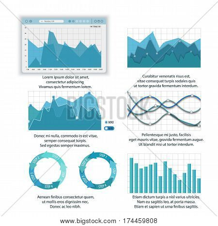 Modern Infographic Set, vector pack of lines charts