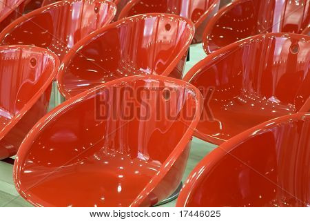 shiny red chairs