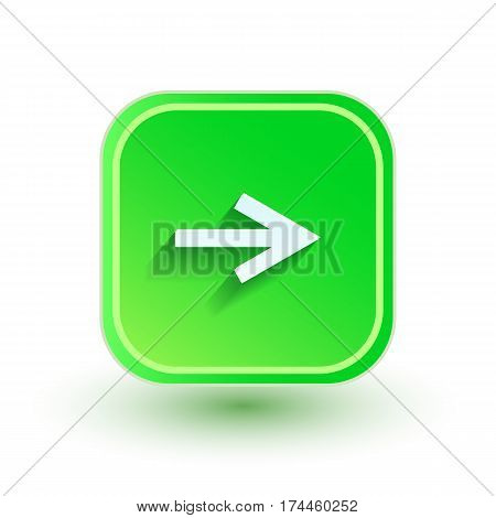 Arrow icon. Flat design. Right direction Green color