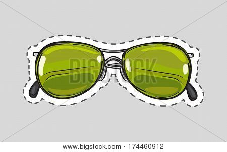 Classical green sunglasses icon patch. Glasses cut out. Unisex model, frame for man and woman. Eyeglasses with dashed line sticker. Hipster glasses. Metal framed retro glasses. Vector illustration