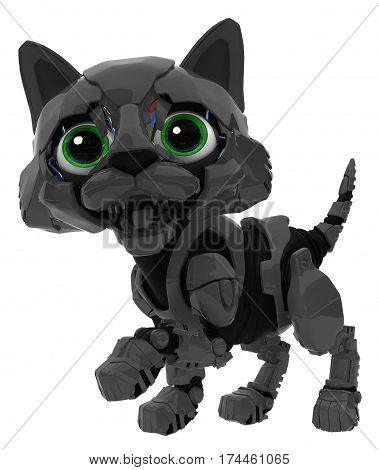 Robotic kitten black color 3d illustration horizontal isolated