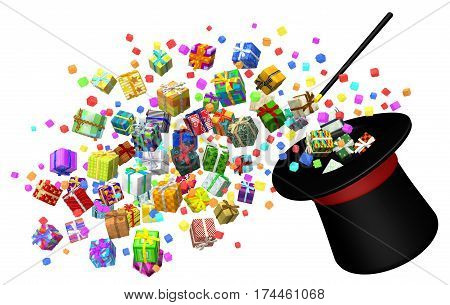 Gift large group 3d illustration magic trick hat horizontal isolated over white