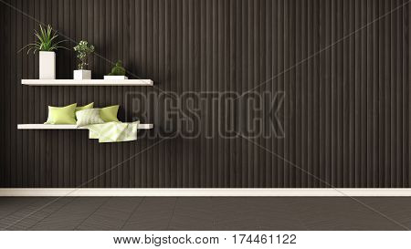 Empty Room, Shelves With Pillows And Succulent Potted Plants, Herringbone Parquet And Wooden Wall, B