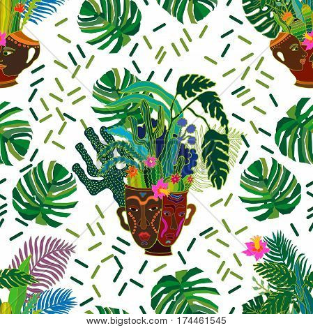 Seamless vector pattern with exotic plants in ceramic pots with aboriginal faces and palm leaves. Ethnic textile design collection.